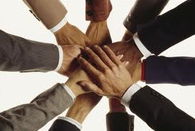 Invoice factoring company teamwork - hands image
