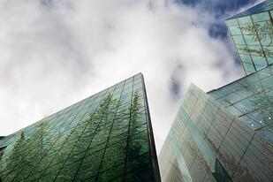 Image of eco-friendly office buildings - Sustainable practices can help foster business growth.